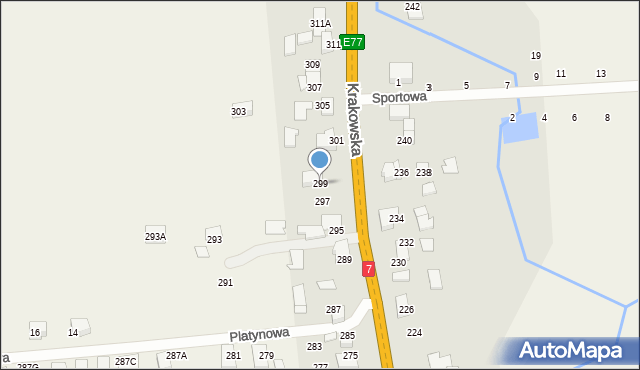Michałowice, Krakowska, 299, mapa Michałowice