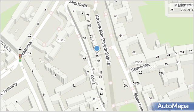 Warszawa, Krakowskie Przedmieście, 55, mapa Warszawy