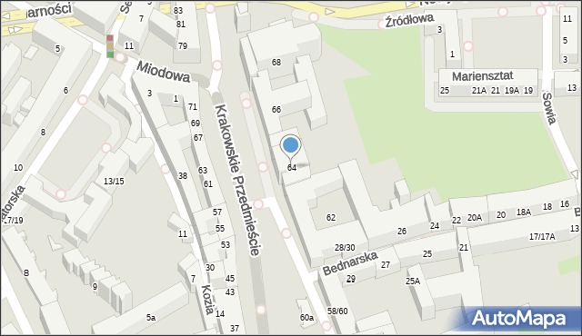 Warszawa, Krakowskie Przedmieście, 64, mapa Warszawy