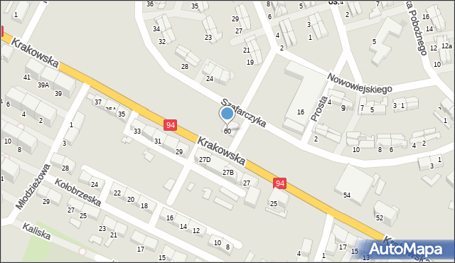 Zabrze, Krakowska, 60, mapa Zabrza