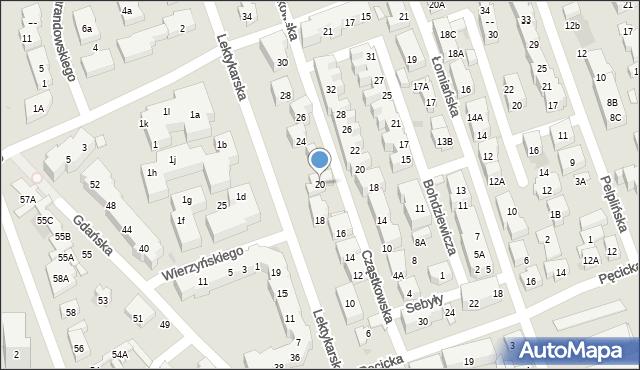 Warszawa, Lektykarska, 20, mapa Warszawy