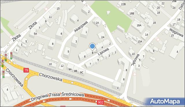 Katowice, Lipowa, 6, mapa Katowic