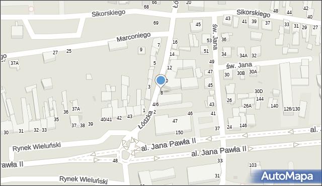 Częstochowa, Łódzka, 8-12, mapa Częstochowy