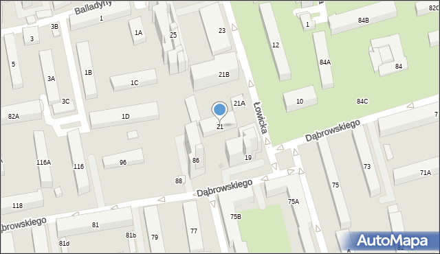 Warszawa, Łowicka, 21, mapa Warszawy