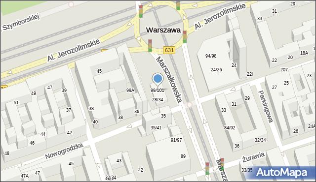 Warszawa, Marszałkowska, 99-101, mapa Warszawy