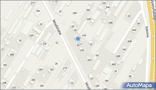 Jabłonna, Modlińska, 24, mapa Jabłonna