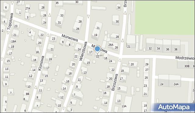 Katowice, Morwowa, 12, mapa Katowic