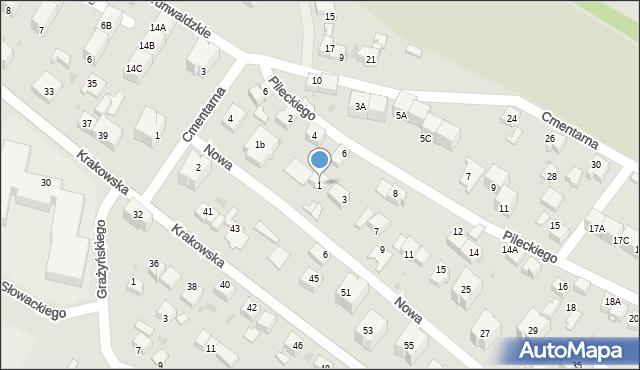 Mikołów, Nowa, 1, mapa Mikołów