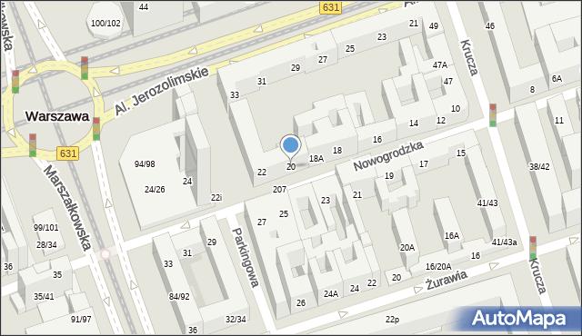 Warszawa, Nowogrodzka, 20, mapa Warszawy