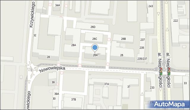 Warszawa, Nowowiejska, 26A, mapa Warszawy