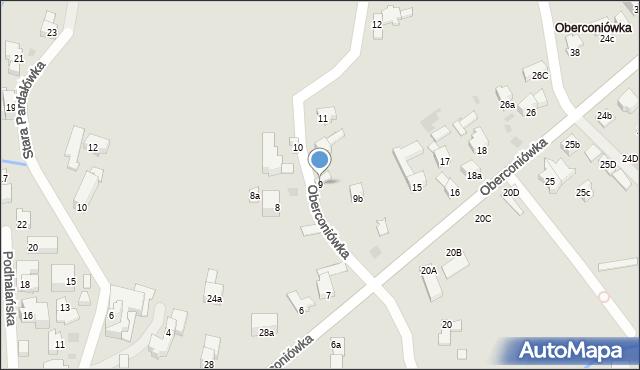 Zakopane, Oberconiówka, 9, mapa Zakopanego