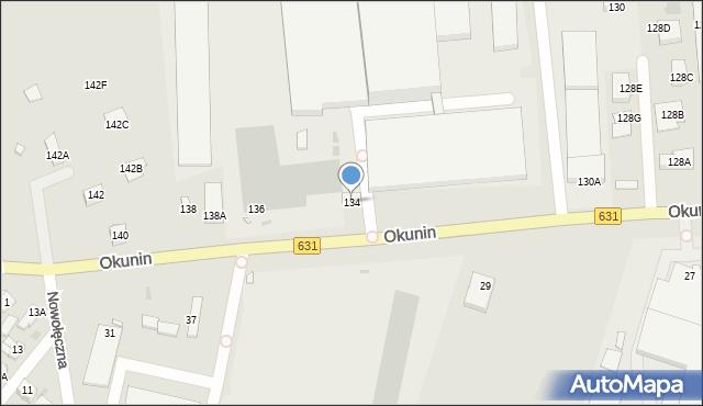 Nowy Dwór Mazowiecki, Okunin, 134, mapa Nowy Dwór Mazowiecki