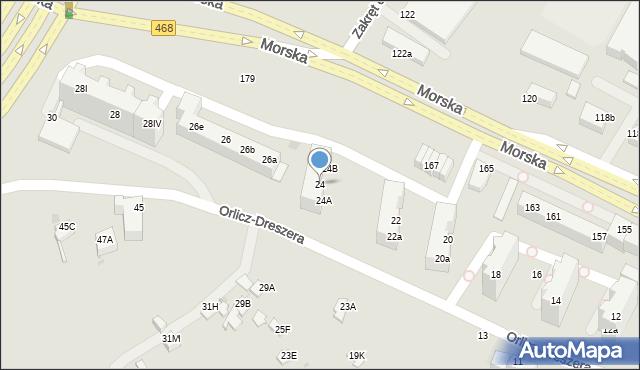 Gdynia, Orlicz-Dreszera, 24, mapa Gdyni