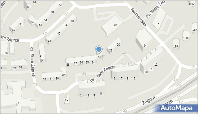 Poznań, Osiedle Stare Żegrze, 23, mapa Poznania