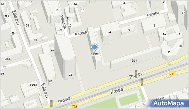 Warszawa, Pereca Icchoka Lejba, 13/19, mapa Warszawy