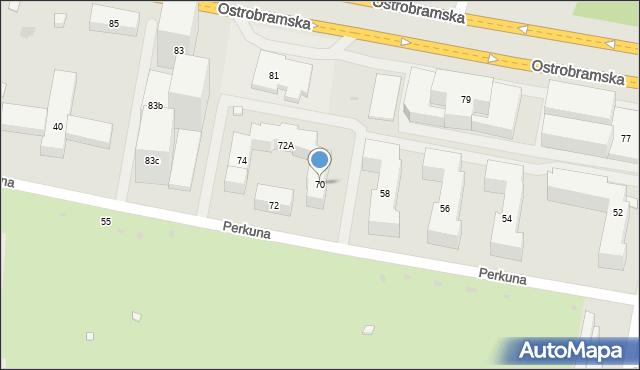 Warszawa, Perkuna, 70, mapa Warszawy