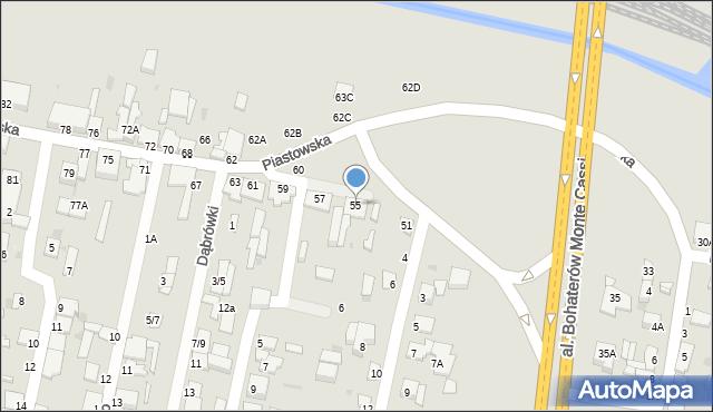 Częstochowa, Piastowska, 55, mapa Częstochowy