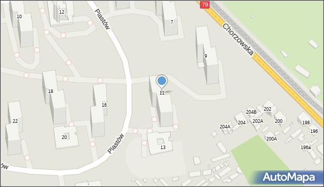 Katowice, Piastów, 11, mapa Katowic