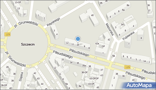 Szczecin, Piłsudskiego Józefa, 10, mapa Szczecina