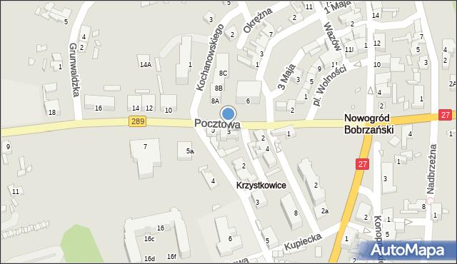 Nowogród Bobrzański, Pocztowa, 3, mapa Nowogród Bobrzański