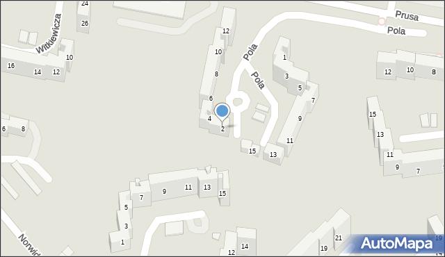 Sosnowiec, Pola Wincentego, 2, mapa Sosnowca