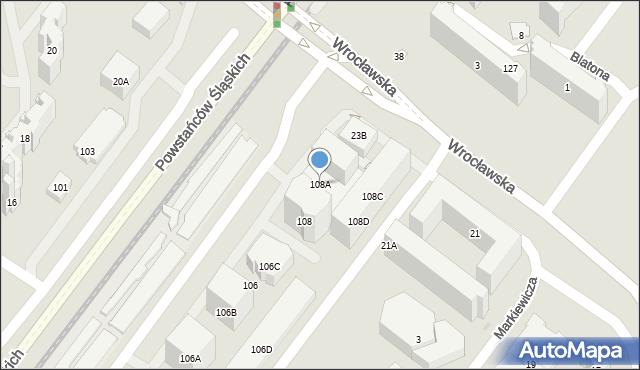 Warszawa, Powstańców Śląskich, 108A, mapa Warszawy
