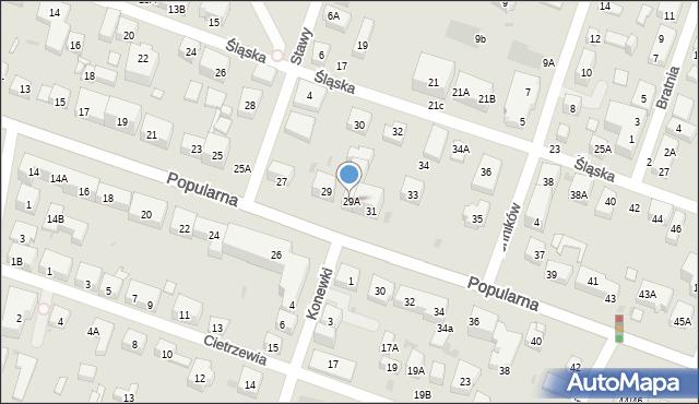 Warszawa, Popularna, 29A, mapa Warszawy