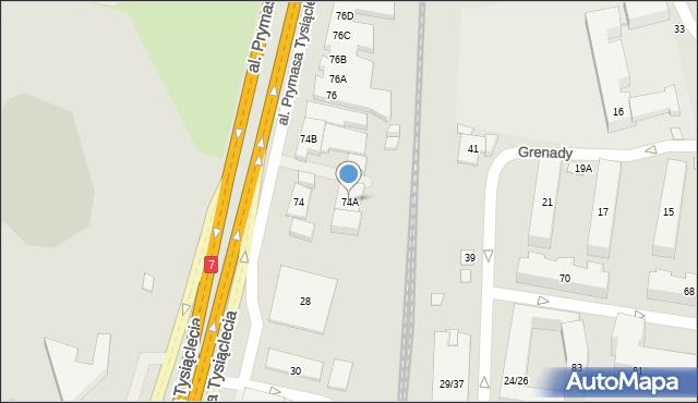 Warszawa, Prymasa Tysiąclecia, al., 74A, mapa Warszawy