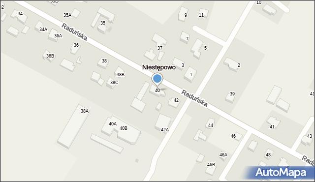Niestępowo, Raduńska, 40, mapa Niestępowo