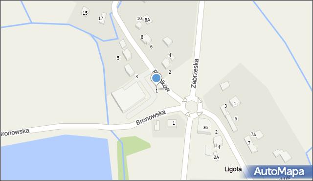 Ligota, Rolników, 1, mapa Ligota
