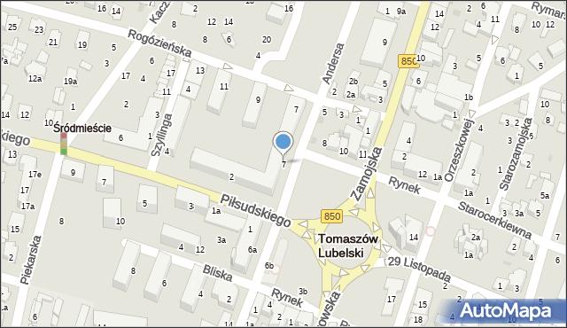 Tomaszów Lubelski, Rynek, 7, mapa Tomaszów Lubelski
