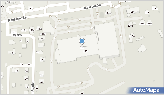 Dębica, Rzeszowska, 114, mapa Dębicy