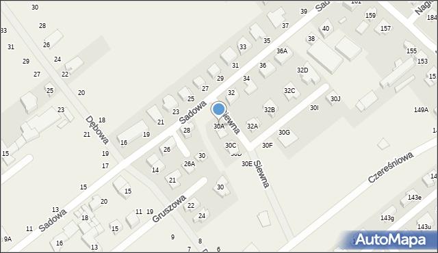 Skórzewo, Sadowa, 30a, mapa Skórzewo