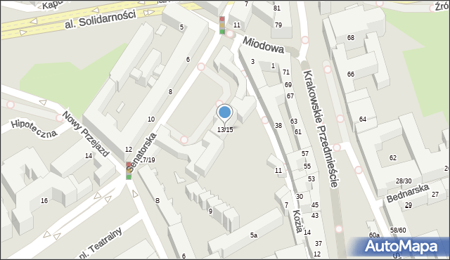 Warszawa, Senatorska, 13-15, mapa Warszawy