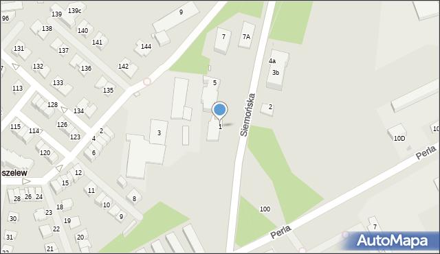 Będzin, Siemońska, 1, mapa Będzin
