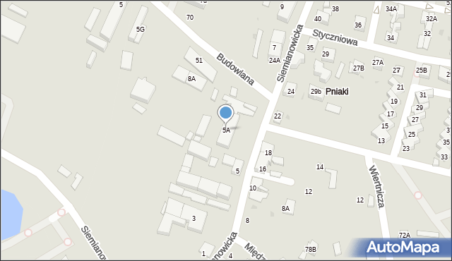 Katowice, Siemianowicka, 5a, mapa Katowic