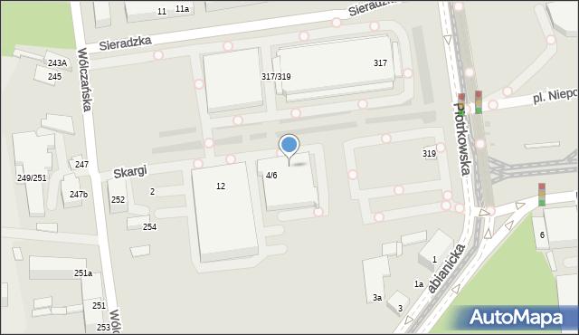 Łódź, Skargi Piotra, 8-10, mapa Łodzi