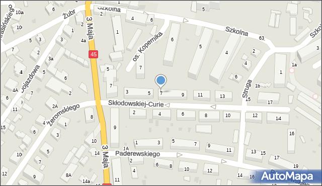 Wieluń, Skłodowskiej-Curie Marii, 7, mapa Wieluń