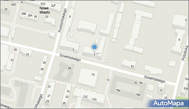 Szczecin, Sowińskiego Józefa, 1, mapa Szczecina