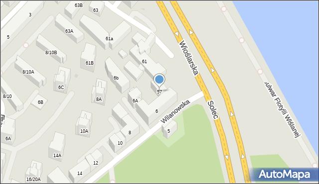 Warszawa, Solec, 57, mapa Warszawy