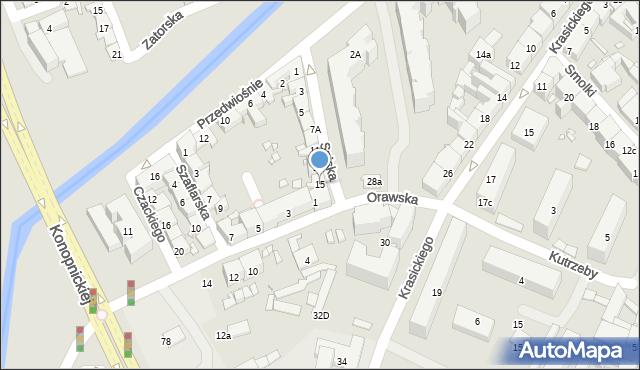 Kraków, Spiska, 15, mapa Krakowa