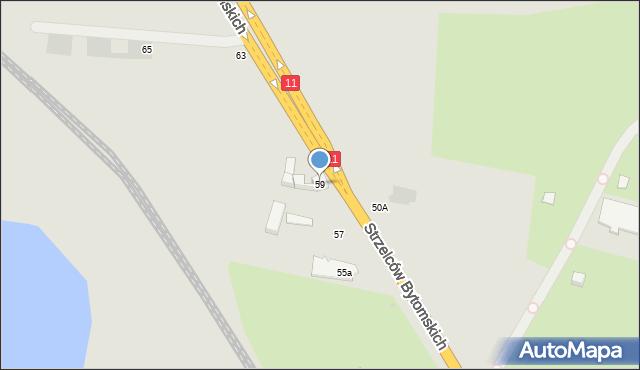 Bytom, Strzelców Bytomskich, 59, mapa Bytomia