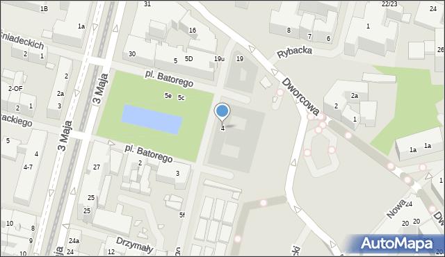 Szczecin, Stefana Batorego, 4, mapa Szczecina