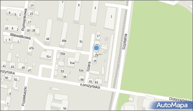 Bydgoszcz, Szara, 23, mapa Bydgoszczy