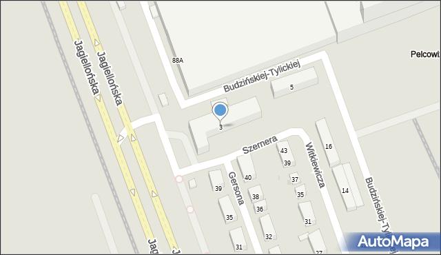 Warszawa, Szernera Władysława, 3, mapa Warszawy