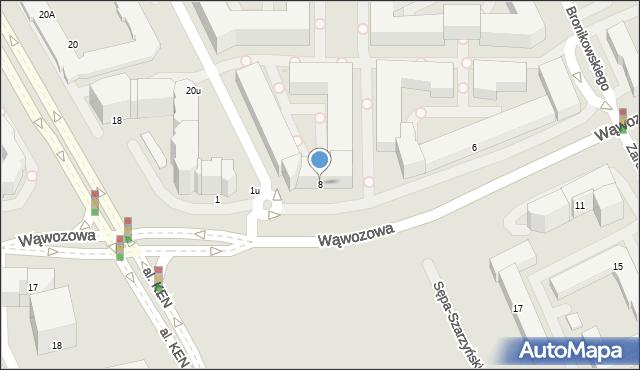 Warszawa, Wąwozowa, 8, mapa Warszawy