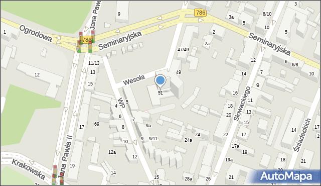 Kielce, Wesoła, 51, mapa Kielc