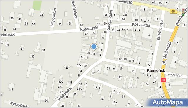 Kamieńsk, Wieluńska, 16, mapa Kamieńsk