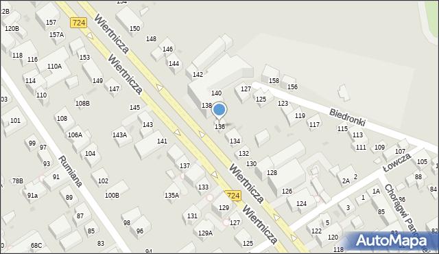 Warszawa, Wiertnicza, 136, mapa Warszawy