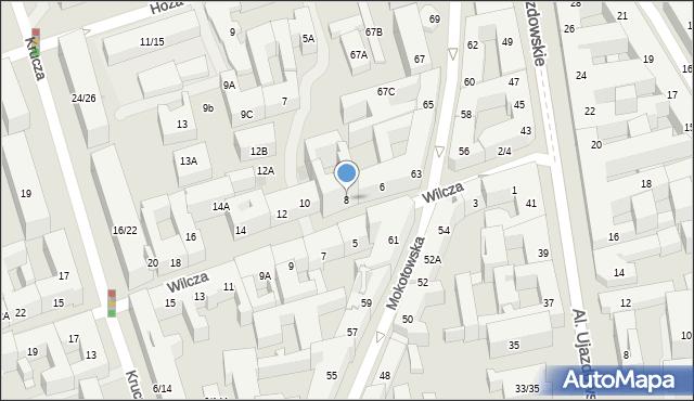 Warszawa, Wilcza, 8, mapa Warszawy